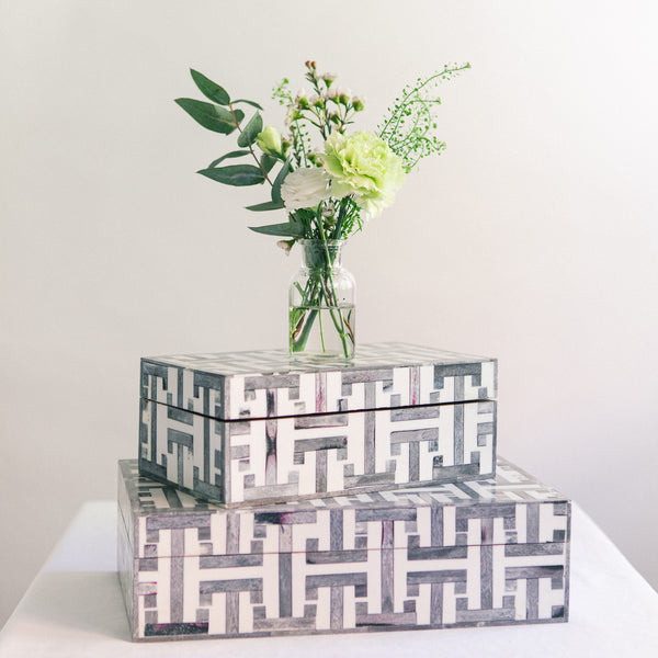 Grey H Pattern Box