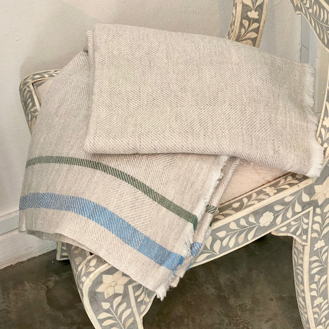 Cashmere Throw - Tawny with Blue / Green Stripes