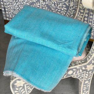 Cashmere Throw - Aqua Thin Zig Zag