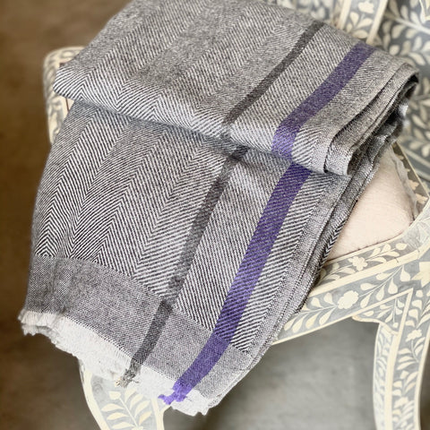 Cashmere Throw - Grey with Black/Purple Stripes