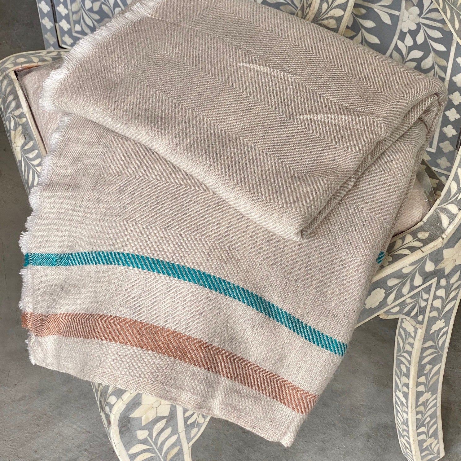 Cashmere Throw - Tan with Green and Brown Stripes
