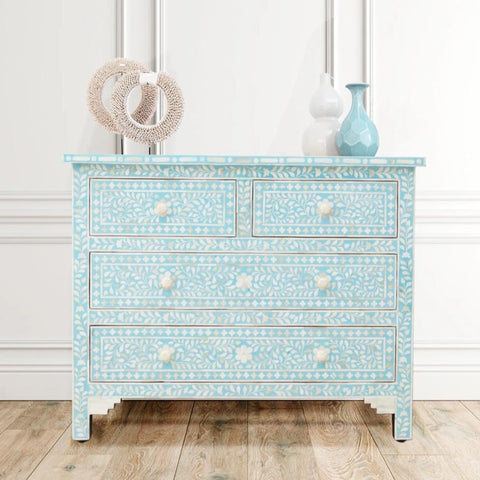 Aqua Leaf Pattern - 4 Drawers Chest
