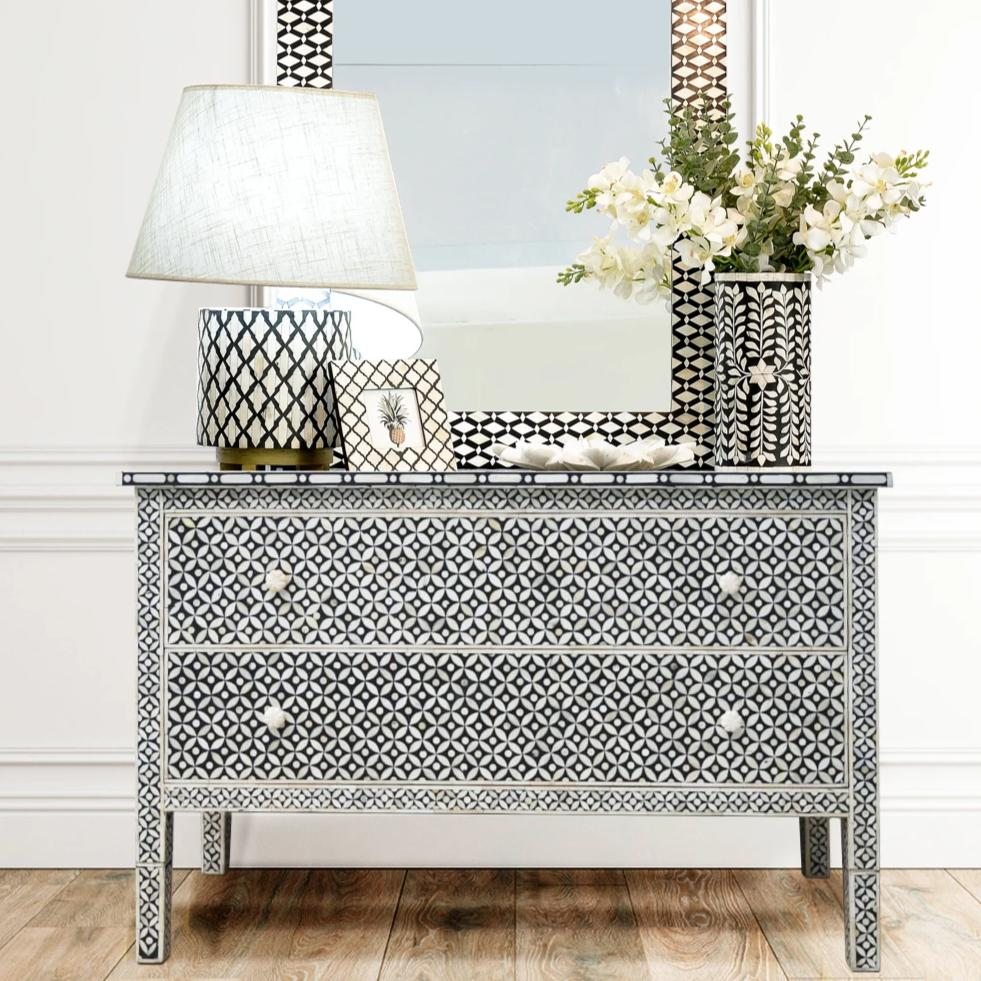 Black Geometric Pattern  Two Drawer Chest