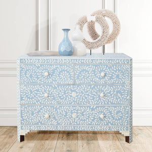 Pale Blue Leaf Pattern - 3 Drawer Chest