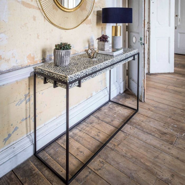Haveli Console Table with Black Base
