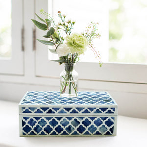 Dipped Blue Moroccan Pattern Box