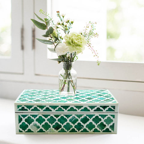 Dipped Green Moroccan Pattern Box