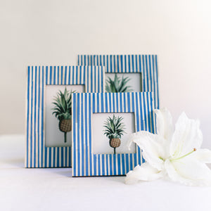 Pin Stripe Photo Frame - Blue