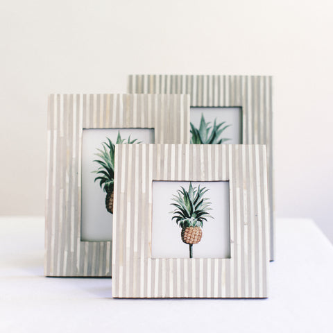 Pin Stripe Photo Frame - Grey