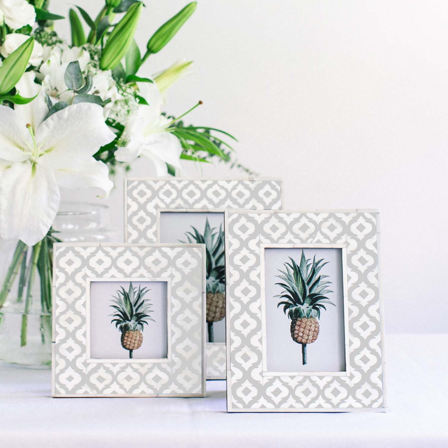 Grey Moroccan Pattern Photo Frame