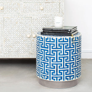 Hacienda Pattern - Cylinder Side Table in Royal Blue