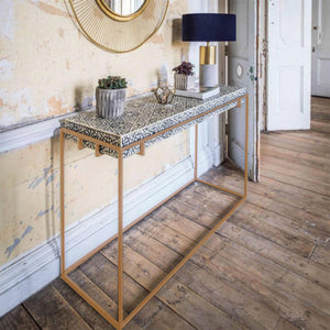 Haveli Console Table with Gold Base