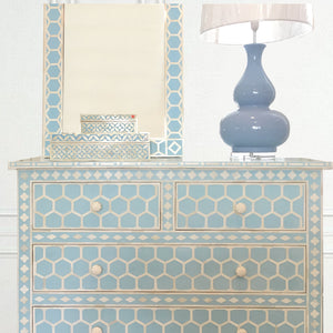 Aqua Hexagonal Pattern - 4 Drawer Chest