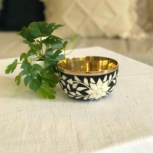 Black Mother of Pearl Inlay Floral Bowl