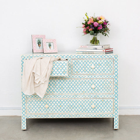 Aqua Mughal Pattern - 4 Drawer Chest
