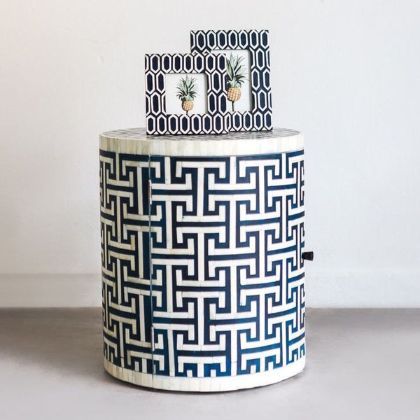 Hacienda Pattern - Cylinder Side Table with Cupboard in Navy
