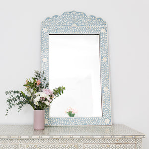 Pale Blue Leaf Pattern Crown Mirror