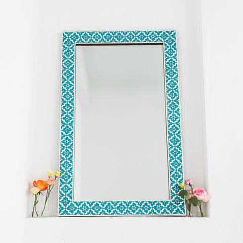 Turquoise Wallpaper Pattern Mirror