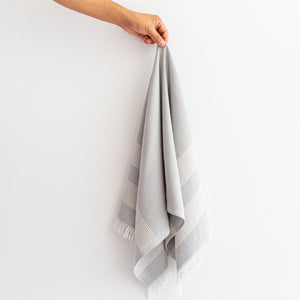 Turkish Linen Hand Towel - Pale Grey & White