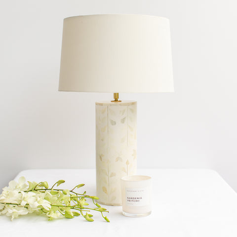 White Leaf Pattern Bone Inlay Table Lamp