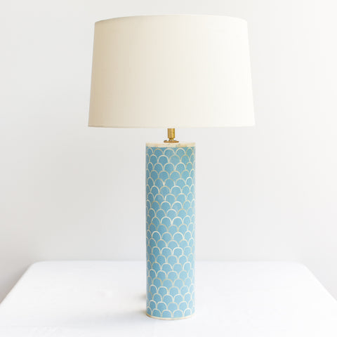 Blue Scallop Bone Inlay Table Lamp
