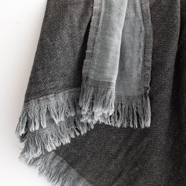 Linen Throw - Grey & Charcoal