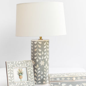 Grey Leaf Pattern Bone Inlay Table Lamp