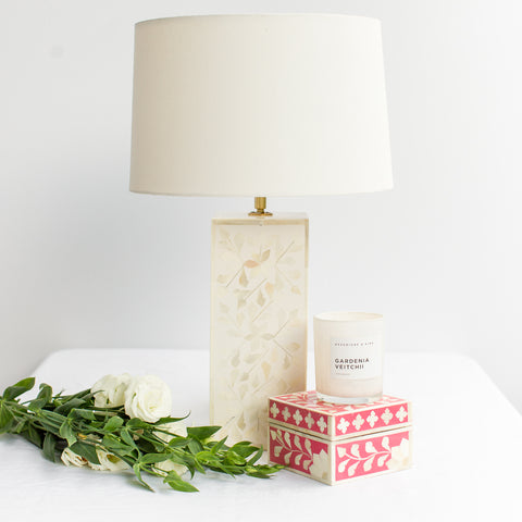 White Leaf Pattern Bone Inlay Table Lamp - Square