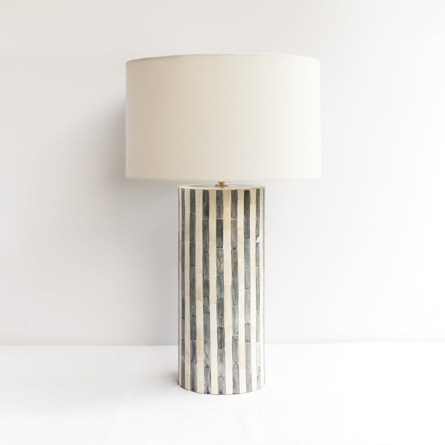 Grey Stripe Bone Inlay Table Lamp