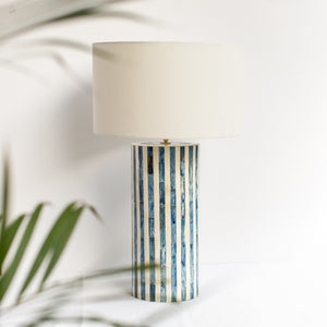 Blue Stripe Bone Inlay Table Lamp