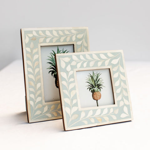 Leaf Pattern Photo Frame - Pale Blue