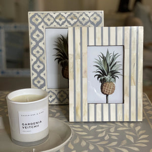 Grey Stripe Pattern Photo Frame