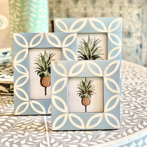 Petal Pattern Photo Frame - Pale Blue