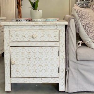 Club Pattern Cream Side Tables