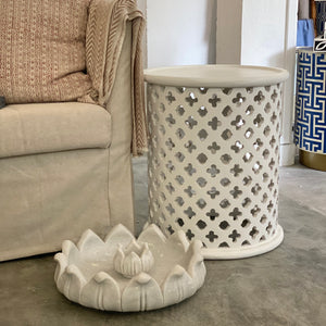 Wooden Lattice Side Table - White