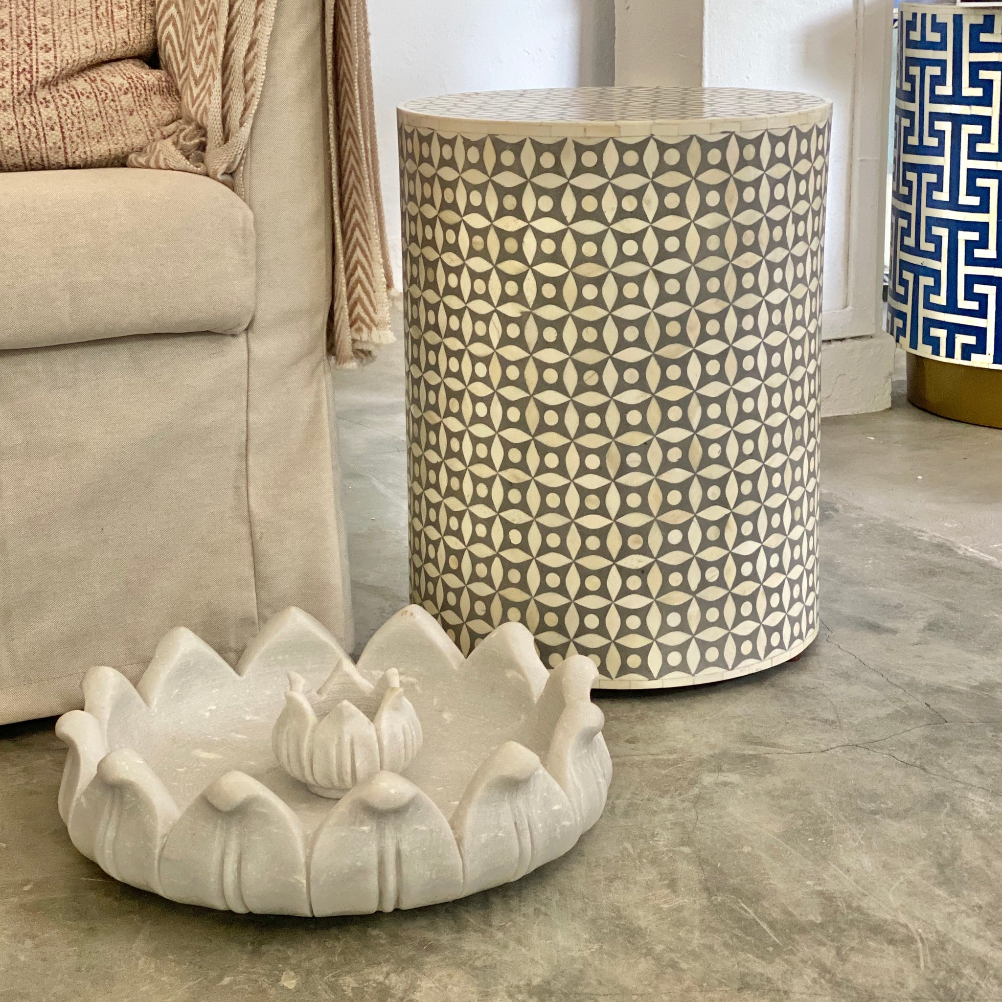 Grey Geometric Pattern Side Table