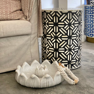 Modern Star Pattern Side Table in Black