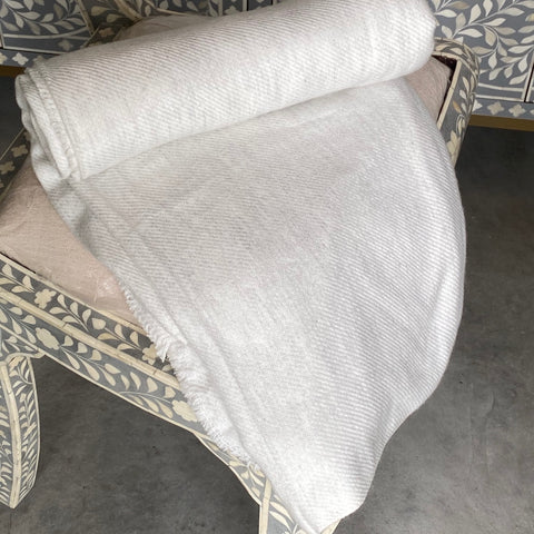 Cashmere Throw - Subtle White