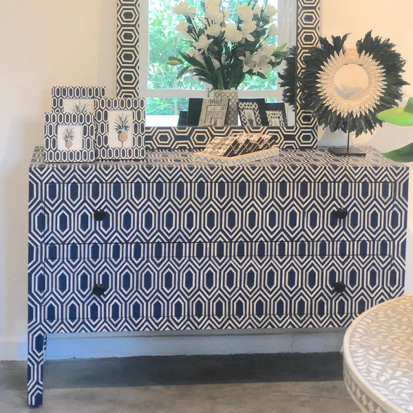 Navy Imperial Pattern Two Drawer Chest