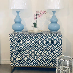 Navy Fez Pattern 3 Drawer Chest