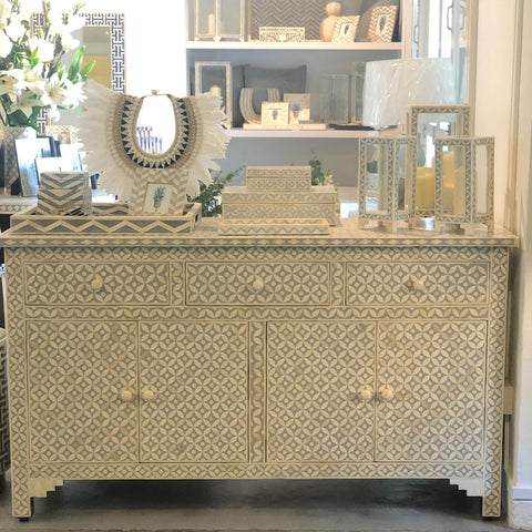 Grey Geometric Pattern Sideboard