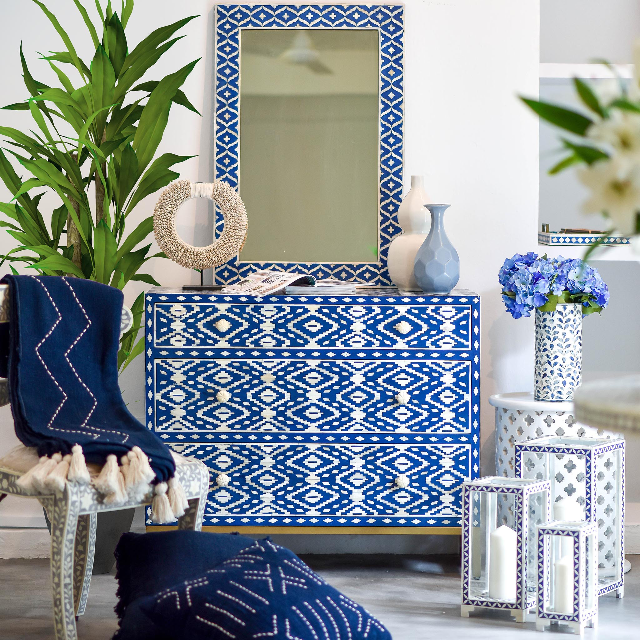 Navy Ikat Pattern - 3 Drawer Chest