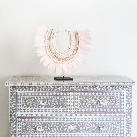 Grey Mother of Pearl Leaf Pattern - 4 Drawer Chest
