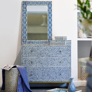 Navy Geometric Pattern - 3 Drawer Chest