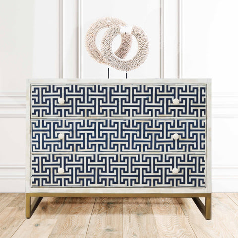 Navy H Pattern - 3 Drawer Chest