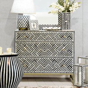 Black Optical Pattern - 3 Drawer Chest