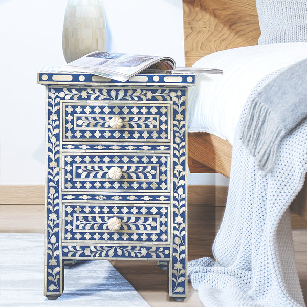 Royal Blue Leaf Pattern 3 Drawer Side Table