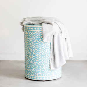 Aqua Leaf Pattern - Cylinder Side Table