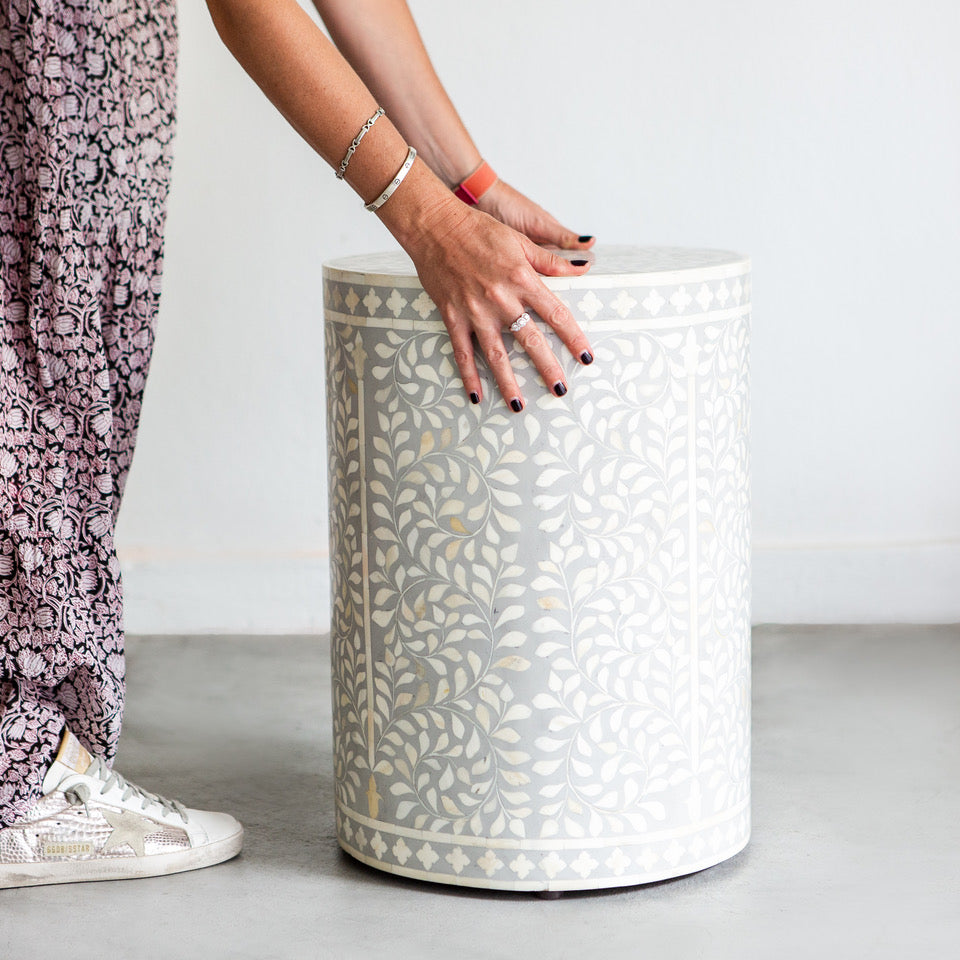 Grey Leaf Pattern - Cylinder Side Table