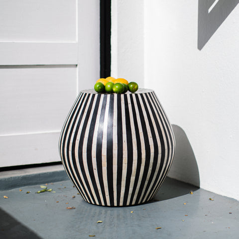 Black Striped Cylinder Side Table